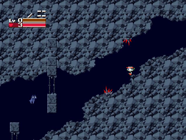 洞窟物語-スタート直後のトゲ